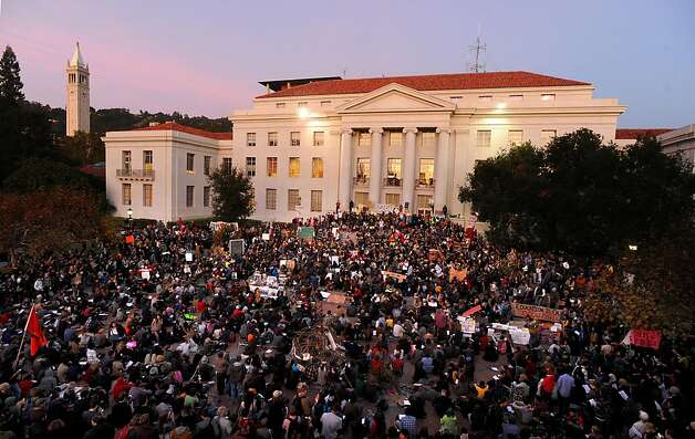 Thousands of students fill UC Berkeley's Sproul Plaza to protest education cuts and corporate greed on Tuesday, Nov. 15, 2011, in Berkeley, Calif. Photo: Noah Berger, Special To The Chronicle