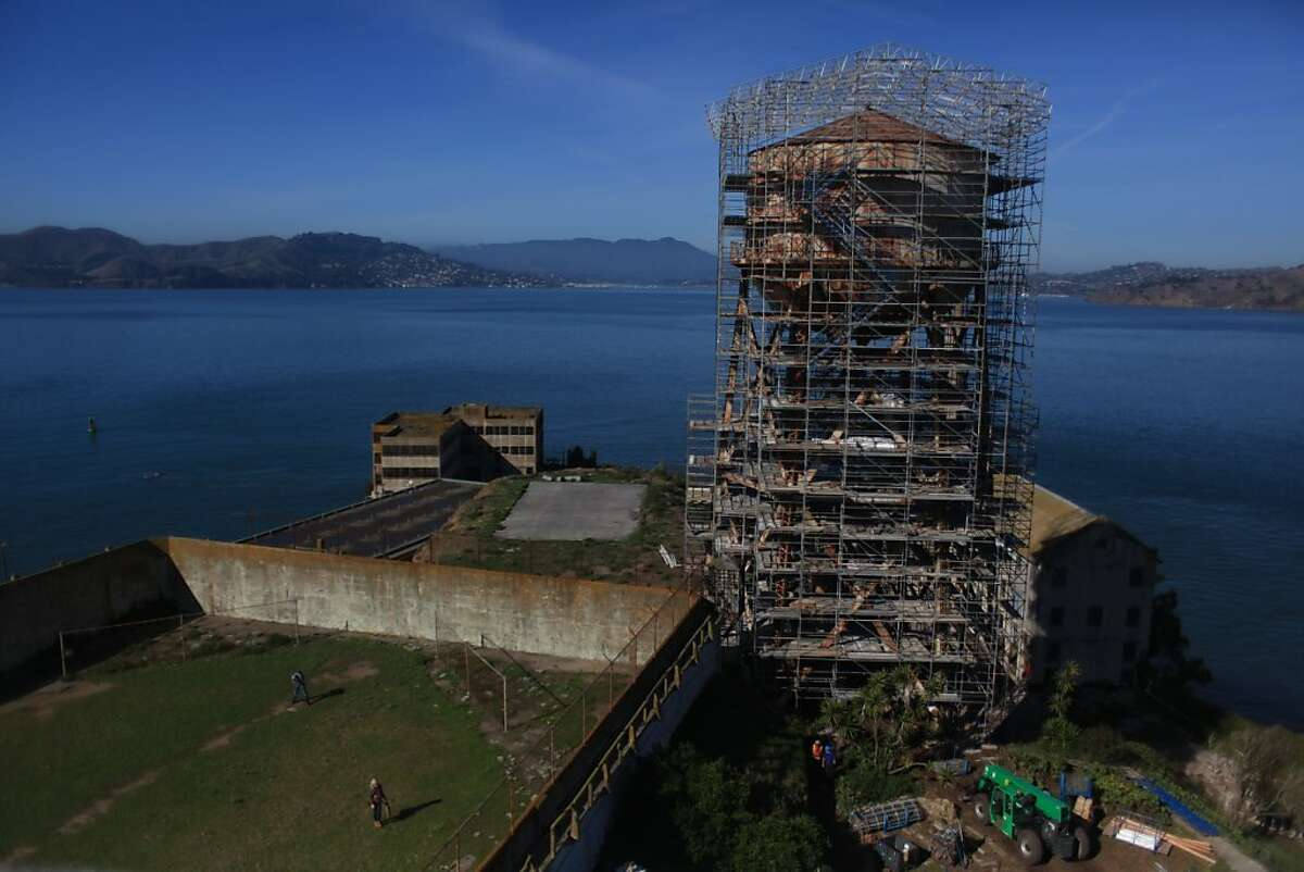 The water tower which is undergoing the beginning of an effort to stabilize the structure in order to ensure that further deterioration does not occur and to make the area safer is seen on Tuesday, November 15, 2011 on Alcatraz in San Francisco,Calif. Ran on: 11-16-2011 The water tower on the north end of the island is getting a big repair job.