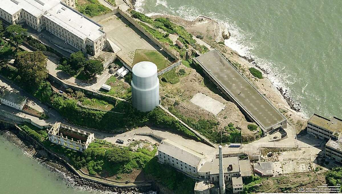 This rendering shows the large white tower that will soon be visible on Alcatraz Island. This will be as part of efforts to repair one of the original structures on the island - the water tower. Ran on: 11-16-2011 This artists rendering shows the tower as it will look once it is covered with a white fabric during the repair job.