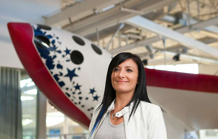 Tiffany Montague, head of Google's Space Initiative, in front of Google's replica of Space Ship One at Google's Campus in Mountain View, Calif., Friday, Nov. 4, 2011. Photo: Thomas Webb, The Chronicle