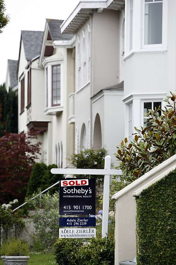 A for sale sign marked sold hangs outside a house in the Seacliff district of San Francisco, California, on Wednesday, August 15, 2007. San Francisco Bay Area home sales fell to their lowest level in 12 years in July as potential buyers waited for prices to decline in a restricted mortgage market. The median price rose 4 percent, matching a record set in June. Photographer: Erin Lubin/Bloomberg News.  A for sale sign marked sold hangs outside a house in the Seacliff district of San Francisco, California, on Wednesday, August 15, 2007. San Francisco Bay Area home sales fell to their lowest level in 12 years in July as potential buyers waited for prices to decline in a restricted mortgage market. The median price rose 4 percent, matching a record set in June. Photographer: Erin Lubin/Bloomberg News.   Ran on: 08-01-2010 Home prices gained 18.3 percent in San Francisco and the Bay Area in May from a year earlier to lead the nation. Prices in Las Vegas declined. Photo: Erin Lubin, Bloomberg