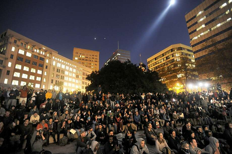 Twelve hours after a mult-agency police raid leveled their camp, Occupy Oakland protesters hold a General Assembly to plan their next steps on Monday, Nov. 14, 2011, in Oakland, Calif. Photo: Noah Berger, Special To The Chronicle
