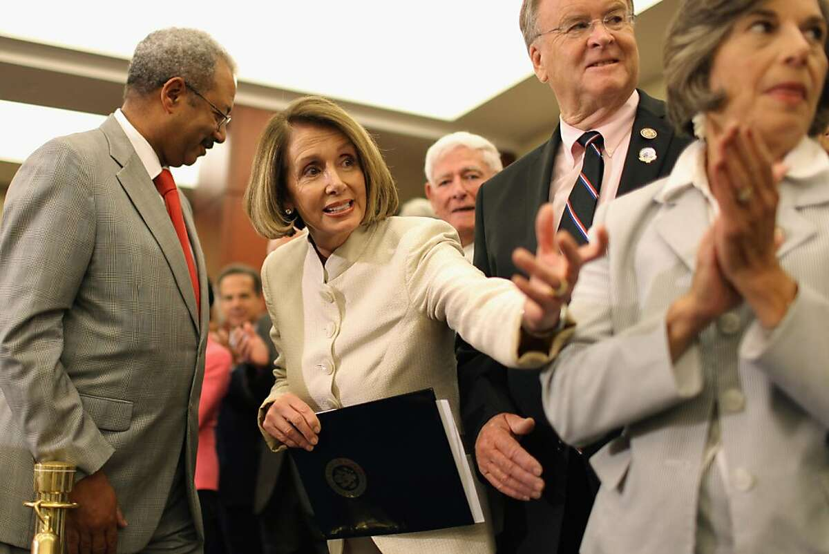 WASHINGTON, DC - JULY 27: House Minority Leader Nancy Pelosi (D-CA) (2ndL) leads a rally and news conference to mark the 46th anniversary of the passage of Medicare with U.S. Rep. Chaka Fattah (D-PA) (L), U.S. Rep. Sam Farr (D-CA) (2ndR) and U.S. Rep. Jan Schakowsky (D-IL) (R) in the U.S. Capitol Visitors Center July 27, 2011 in Washington, DC. Pelosi used the event to highlight what she called the House Republican's push to end Medicare as part of the ongoing federal budget and debt ceiling crisis. (Photo by Chip Somodevilla/Getty Images) Ran on: 07-28-2011 Minority Leader Nancy Pelosi (second from left) leads a rally to mark the 46th anniversary of the passage of Medicare.