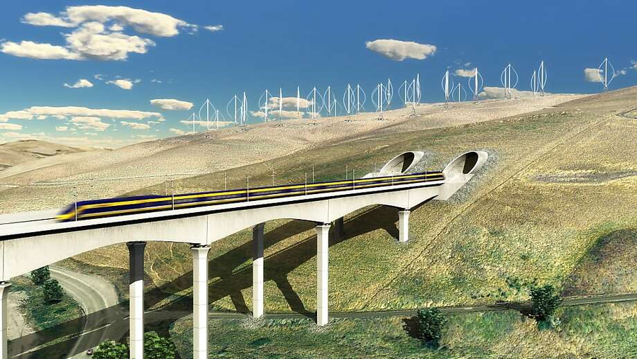 Conceptual view of high speed rail over the Altamont Pass west of Tracy, Calif.   Ran on: 08-14-2011 Arguments against high-speed rail in California sound much like the arguments against the building of the Golden Gate Bridge in the 1930s. Ran on: 08-14-2011 Arguments against high-speed rail in California sound much like the arguments against the building of the Golden Gate Bridge in the 1930s. Photo: Nc3d, Courtesy To The Chronicle