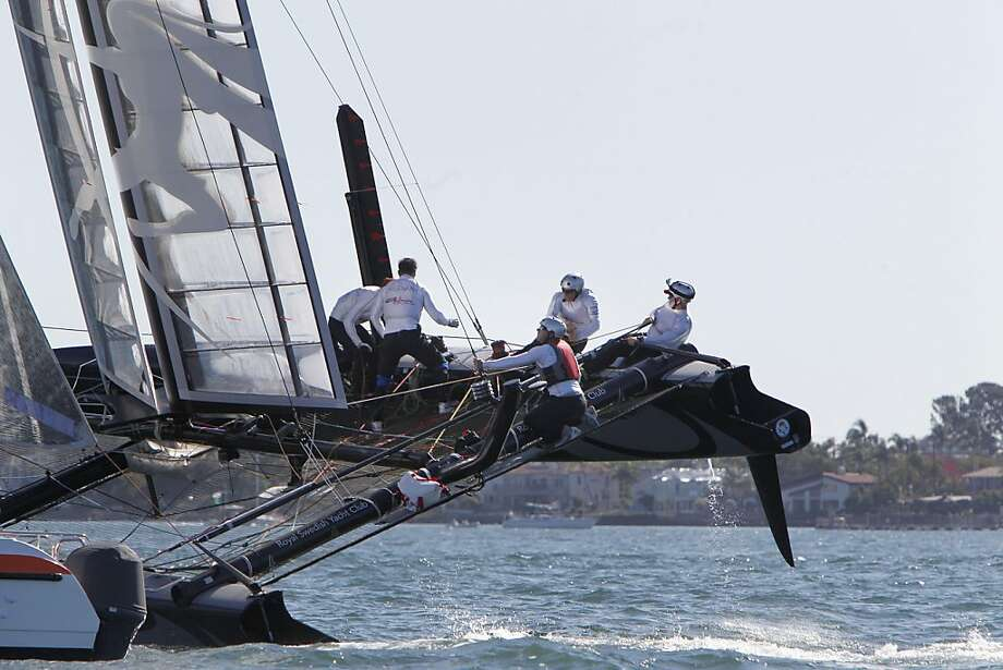 The crew of the Artemis Racing from Sweden work the sails as the sixth man moves from one side to the other along the stern of the 45 foot boat during the second race on Sunday of the  America's Cup World Series, November 13, 2011, in San Diego, Calif. Ran on: 11-14-2011 The crew of Sweden's Artemis Racing work the sails as the sixth man moves along the stern during the second race of the America's Cup World Series. Photo: Lacy Atkins, The Chronicle
