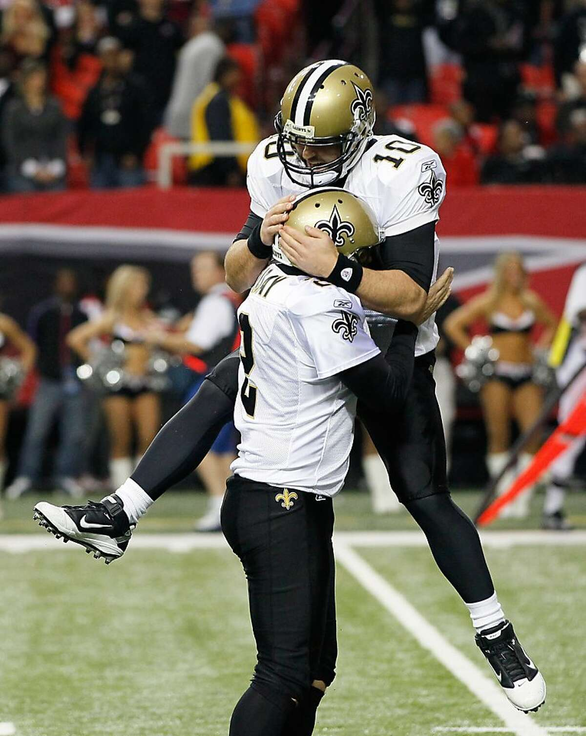 ATLANTA, GA - NOVEMBER 13: Chase Daniel #10 of the New Orleans Saints reacts after John Kasay #2 kicked the game-winning field goal in overtime against the Atlanta Falcons at Georgia Dome on November 13, 2011 in Atlanta, Georgia. (Photo by Kevin C. Cox/Getty Images)