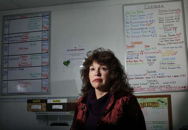 Lynnette Shaw (cq) runs the Marin Alliance for Medical Marijuana in Fairfax, Calif., Friday, November 11, 2011.  She said she voted for Obama but now he's turned his back on the industry, and she is fighting federal efforts to close the business. Photo: Sarah Rice, Special To The Chronicle