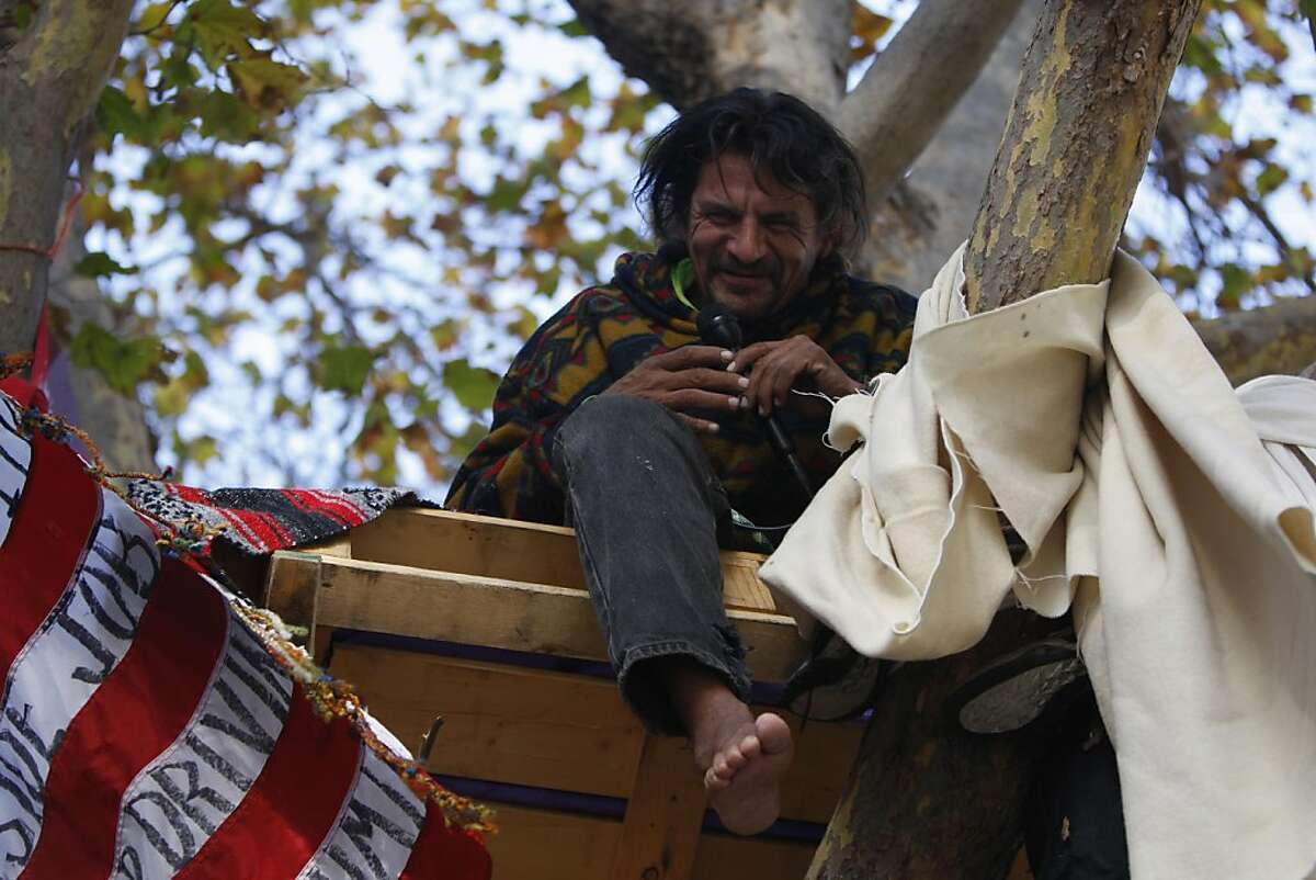 Zachary Runningwolf perches in his newly-made tree dwelling at the Occupy Oakland encampment at Frank Ogawa Plaza in downtown Oakland, Calif., on Sunday, Nov. 13, 2011.