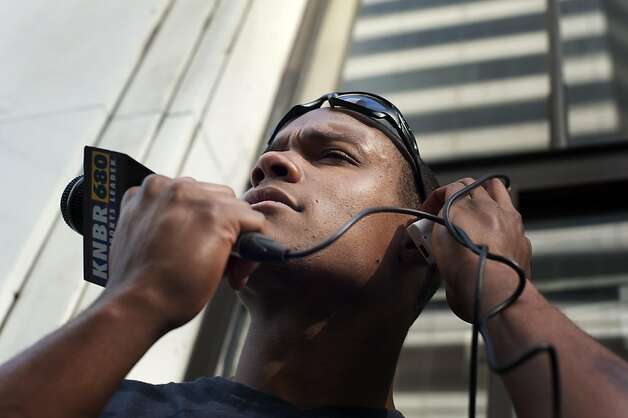"A's outfielder Michael Taylor listens to recorded audio from his interviews about people's critique on sports for a segment called, ´Whats Bugging You? on KNBR where he is interning on Wednesday November 16, 2011 in San Francisco, Calif. ""I have as much time as you have to rant and comment,"" he said. Taylor edits all his own tape and appears on the Fitz and Brooks show in the afternoons. Photo: Dania Maxwell, Special To The Chronicle"