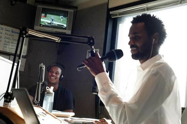 "Inside the recording studio at KNBR, A's outfielder Michael Taylor is on the air for a segment called, ´Whats Bugging You? on Wednesday November 16, 2011 in San Francisco, Calif. Taylor sits with show hosts Rod Brooks (right) and Bob Fitzgerald (not pictured). At KNBR Taylor does man-on-the-street interviews on how people are feeling about sports and different topics. ""I'm not shy,"" he said. ""You have to ask ten people for every one that says yes to an interview."" Taylor edits all his own tape and appears on the Fitz and Brooks show in the afternoons. Photo: Dania Maxwell, Special To The Chronicle"