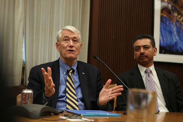UC Berkeley chancellor Robert J. Birgeneau (left) and chief of UC police department Mitch Celaya (right) comment on the shooting at Haas Hall's computer lab in Berkeley, Calif.,  on Tuesday, November 15, 2011.    Ran on: 11-23-2011 Photo caption Dummy text goes here. Dummy text goes here. Dummy text goes here. Dummy text goes here. Dummy text goes here. Dummy text goes here. Dummy text goes here. Dummy text goes here.###Photo: forum23_aclu_berkeley_PH1321142400SFC###Live Caption:UC Berkeley chancellor Robert J. Birgeneau (left) and chief of UC police department Mitch Celaya (right) comment on the shooting at Haas Hall's computer lab in Berkeley, Calif.,  on Tuesday, November 15, 2011.###Caption History:UC Berkeley chancellor Robert J. Birgeneau (left) and chief of UC police department Mitch Celaya (right) comment on the shooting at Haas Hall's computer lab in Berkeley, Calif.,  on Tuesday, November 15, 2011.###Notes:**Robert J. Birgeneau, Mitch Celaya   CQ###Special Instructions:MANDATORY CREDIT FOR PHOTOG AND SF CHRONICLE-NO SALES-MAGS OUT-TV OUT Photo: Liz Hafalia, The Chronicle