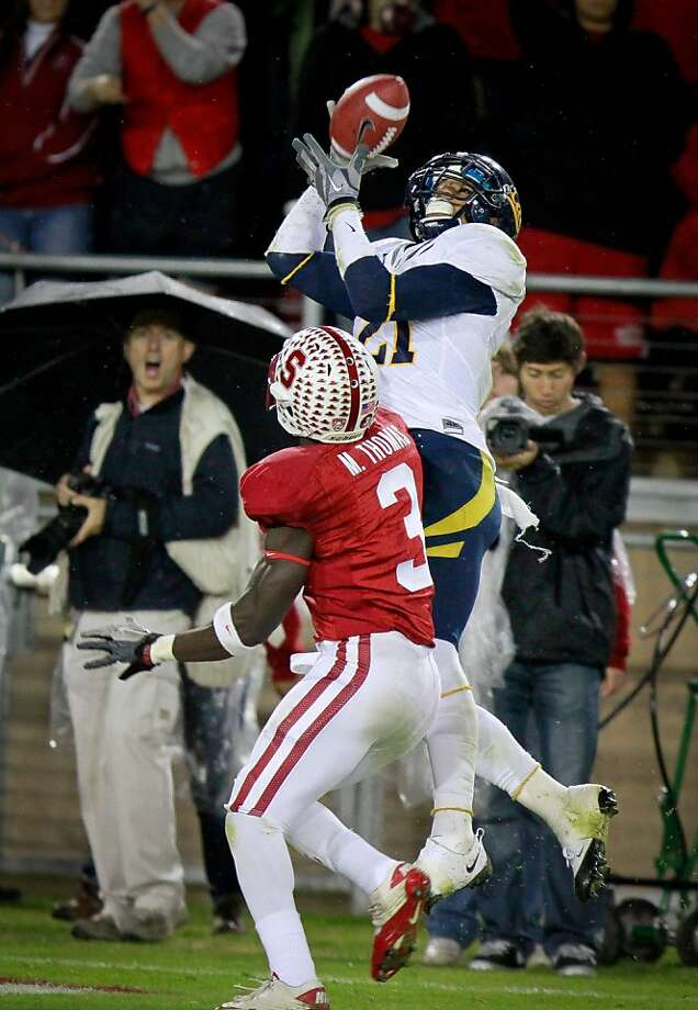 Keenan Allen of Cal catches a touchdown pass as Stanford's Michael thomas defends on the play during the Cal vs. Stanford football game in Stanford, Calif., on Saturday, November 19, 2011. Photo: John Storey, Special To The Chronicle