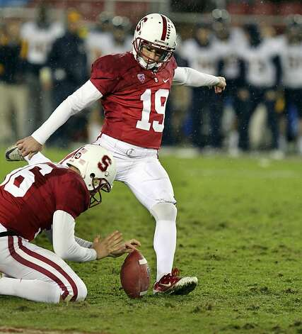 Stanford kicker Jordan Williamson kicked the winning field goal in the 4th quarter of the annual 114th Big Game despite the rutted field. Stanford defeated the California Bears 31-28 Saturday November 19, 2011. Photo: Lance Iversen, The Chronicle