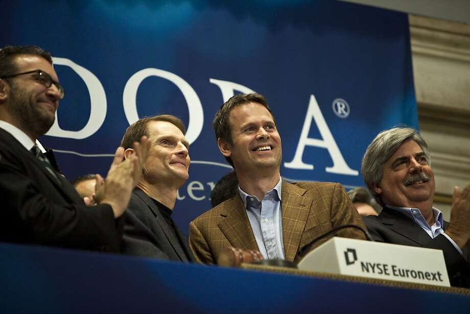 Joseph Kennedy, chief executive officer of Pandora Media Inc., center left, and Tim Westergren, founder and chief strategist of Pandora, center right, applaud after ringing the opening bell at the New York Stock Exchange in New York, U.S., on Wednesday, June 15, 2011. Pandora Media Inc., the online-radio company, surged after its shares priced above the top of range, giving investors a chance to benefit from the limited number of new Internet stocks. Photographer: Ramin Talaie/Bloomberg Joseph Kennedy, chief executive officer of Pandora Media Inc., center left, and Tim Westergren, founder and chief strategist of Pandora, center right, applaud after ringing the opening bell at the New York Stock Exchange in New York, U.S., on Wednesday, June 15, 2011. Pandora Media Inc., the online-radio company, surged after its shares priced above the top of range, giving investors a chance to benefit from the limited number of new Internet stocks. Photographer: Ramin Talaie/Bloomberg *** Local Caption *** Joseph Kennedy; Tim Westergren Photo: Ramin Talaie, Bloomberg