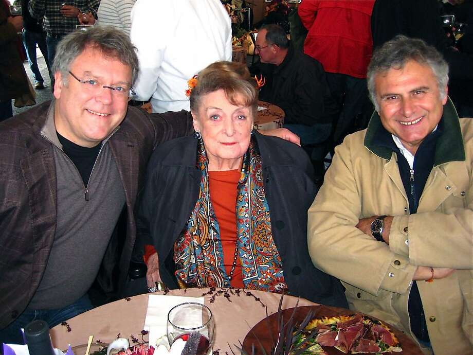 Nion McEvoy (at left) with his mother, Nan McEvoy, and olive oil expert Maurizio Castelli at the 20th Harvest Festival at McEvoy Ranch. Nov. 2011. By Catherine Bigelow. Photo: Catherine Bigelow, Special To The Chronicle
