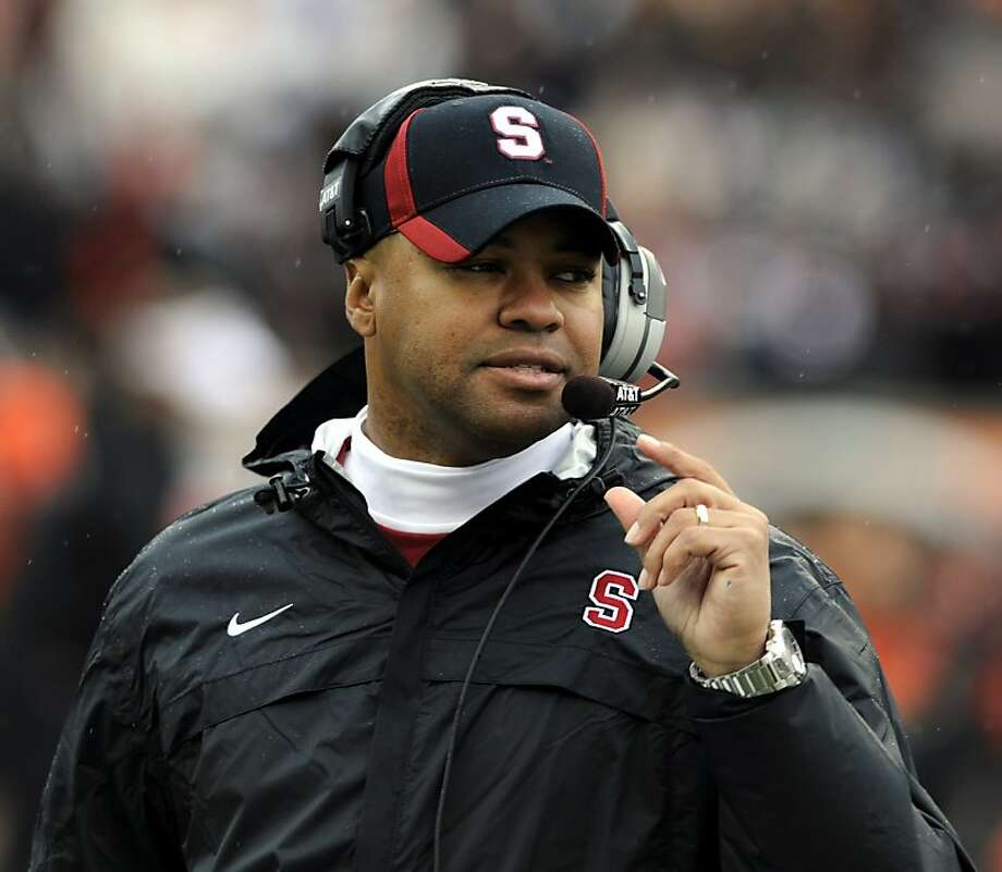 Stanford's head coach David Shaw during a time out in the first half of an NCAA football game against Oregon State in Corvallis, Ore., Saturday, Nov. 5, 2011. (AP Photo/Greg Wahl-Stephens) Photo: Greg Wahl-Stephens, AP
