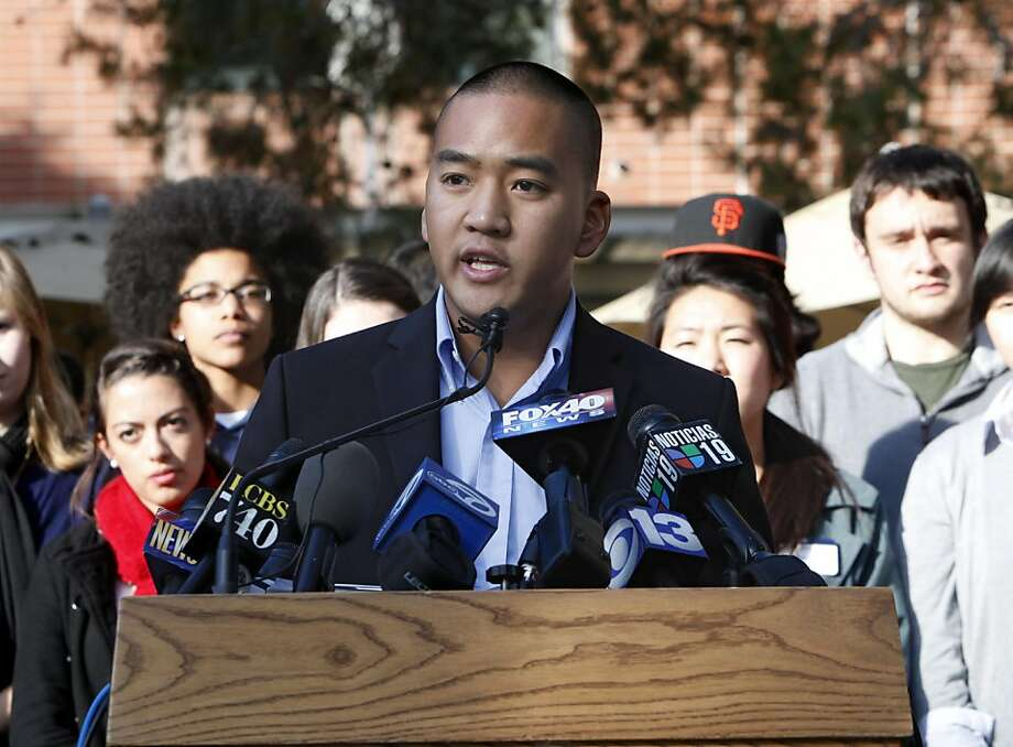 Adam Thongsavat, President of the Associated Students of the University of California, Davis, calls on California Attorney General Kamala Harris to investigate the campus police us of pepper spray, during a news conference on the campus in Davis, Calif., Tuesday, Nov. 22, 2011. Thongsavat said he did not support the removal of UC Davis Chancellor Linda Katehi, but joined other campus leaders in calling for the investigation of the campus  police's use of pepper spray on student protesters who refused to obey police orders and remove their tents, last Friday. (AP Photo/Rich Pedroncelli) Photo: Rich Pedroncelli, AP