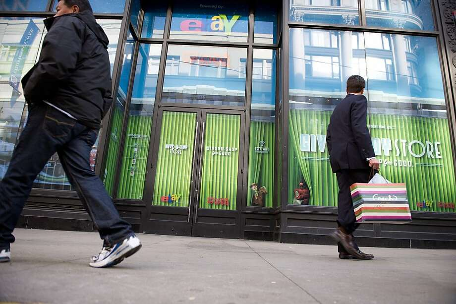 Pedestrians walk past a pop-up EBay Inc. hot spot store in San Francisco, California, U.S., on Tuesday, Nov 22, 2011. Beginning Nov. 25, EBay Inc., will provide a free mobile hotspot where customers can come in and shop online with their mobile phones. Photographer: David Paul Morris/Bloomberg Pedestrians walk past a pop-up EBay Inc. hot spot store in San Francisco, California, U.S., on Tuesday, Nov 22, 2011. Beginning Nov. 25,  EBay Inc., will provide a free mobile hotspot where customers can come in and shop online with their mobile phones. Photographer: David Paul Morris/Bloomberg Photo: David Paul Morris, Bloomberg