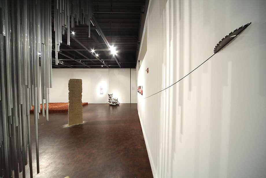 """View of Randy Colosky's exhibition at Museum of Craft and Folk Art, S.F., showing """"The Misguided Carpenter"""" (right forgrdound), """"Another Shape of Things to Come - Part 2"""", (background right) and """"Axis Mundi"""" (foreground left), all 2011 Photo: Jay Jones, Museum Of Craft & Folk Art, S.f."""