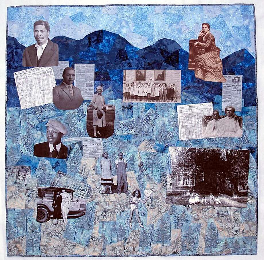 """Among the Most High"" by quiltmaker Marion Coleman is part  of an exhibit chronicling the experiences of the African-American  family in the wake of the Civil War. OLYMPUS DIGITAL CAMERA Photo: S.F. Main Library"