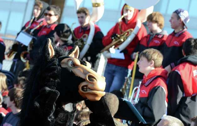 The Fairfield Warde Mustang mascot on the sidelines during the Thanksgiving day football game against cross town rival Fairfield Ludlowe at Fairfield Ludlowe High School on Thursday, Nov. 24, 2011. Photo: Amy Mortensen / Connecticut Post Freelance