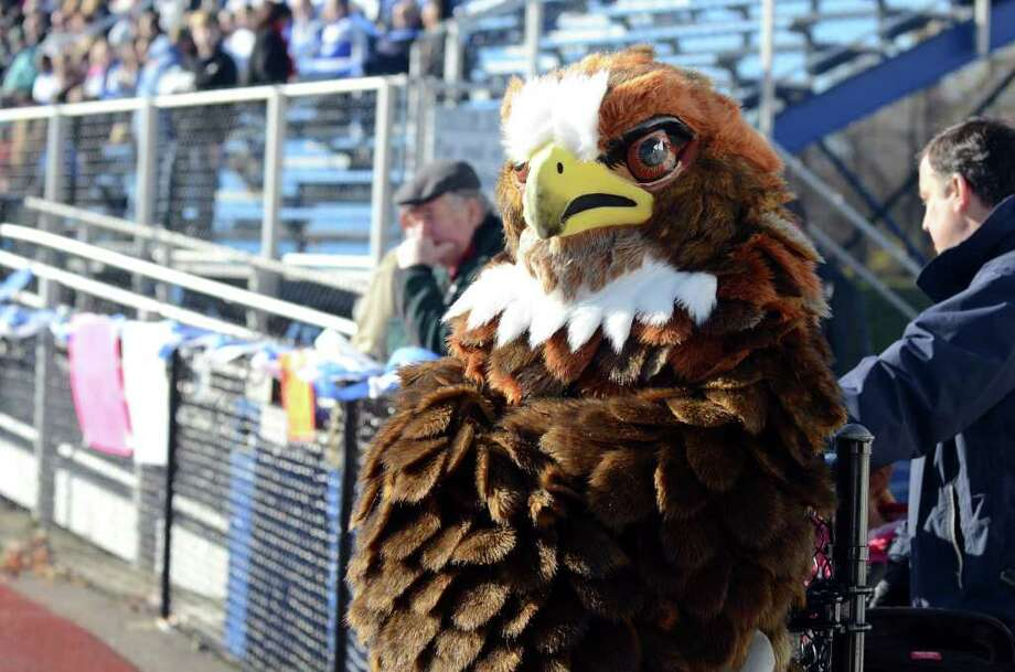 Fairfield Ludlowe's Falcon mascot hangs out on the sidelines during the Fairfield Ludlowe vs. Fairfield Warde Thanksgiving day football game at Fairfield Ludlowe High School on Thursday, Nov. 24, 2011. Photo: Amy Mortensen / Connecticut Post Freelance