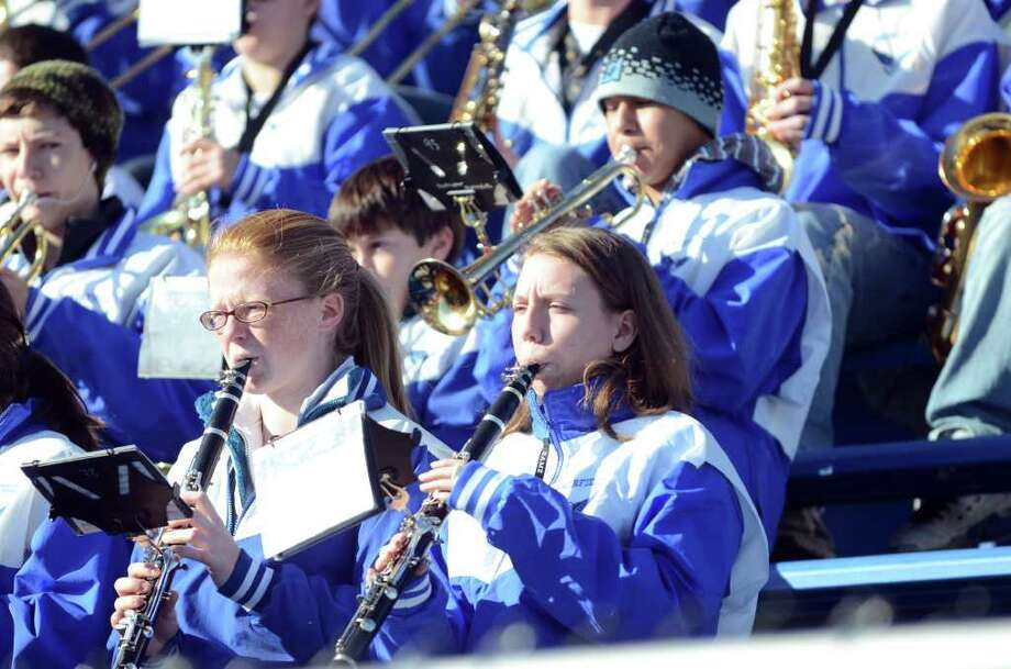 The Fairfield Ludlowe marching band plays during the Fairfield Ludlowe vs. Fairfield Warde Thanksgiving day football game at Fairfield Ludlowe High School on Thursday, Nov. 24, 2011. Photo: Amy Mortensen / Connecticut Post Freelance