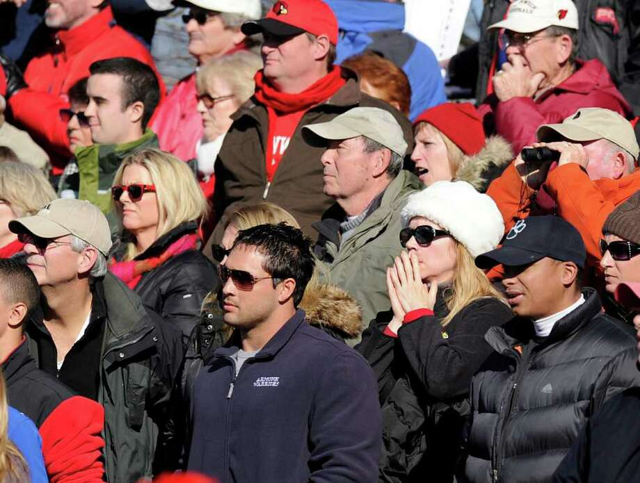 The Greenwich cheering section reacts at the conclusion of the FCIAC Football Championship game in which Staples High School defeated Greenwich High School 31-27 at Staples, Westport, Thursday afternoon, Nov. 24, 2011. Photo: Bob Luckey / Greenwich Time