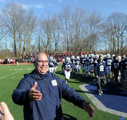 Staples High School football coach Marce Petroccio smiles at the conclusion of the FCIAC Football Championship game in which Staples High School defeated Greenwich High School 31-27 at Staples, Westport, Thursday afternoon, Nov. 24, 2011. Photo: Bob Luckey / Greenwich Time