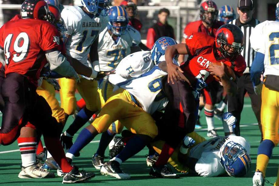 Harding vs. Central high school football action at Kennedy Stadium, Central High School, in Bridgeport, Conn. on Thanksgiving, Nov. 24th, 2011. Photo: Ned Gerard / Connecticut Post
