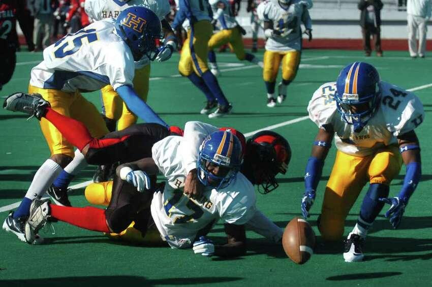 Harding vs. Central high school football action at Kennedy Stadium, Central High School, in Bridgeport, Conn. on Thanksgiving, Nov. 24th, 2011.