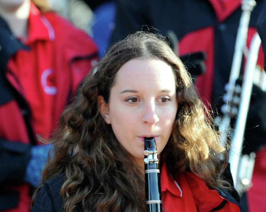 Emma Goodman, 14, of the GHS band plays clarinet during the FCIAC Football Championship game in which Staples High School defeated Greenwich High School 31-27 at Staples, Westport, Thursday afternoon, Nov. 24, 2011. Photo: Bob Luckey / Greenwich Time