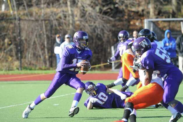 Westhill's Pete Cernansky in action as Westhill High School hosts Stamford High for a crosstown battle on the football field on Thanksgiving Day, November 24, 2011. Photo: Keelin Daly