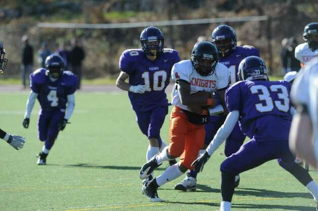 Stamford's Bryan Boderick in action as Westhill High School hosts Stamford High for a crosstown battle on the football field on Thanksgiving Day, November 24, 2011. Photo: Keelin Daly