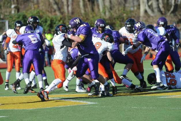 Westhill High School hosts Stamford High for a crosstown battle on the football field on Thanksgiving Day, November 24, 2011. Photo: Keelin Daly