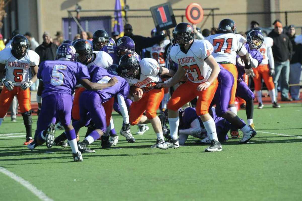 Westhill High School hosts Stamford High for a crosstown battle on the football field on Thanksgiving Day, November 24, 2011.