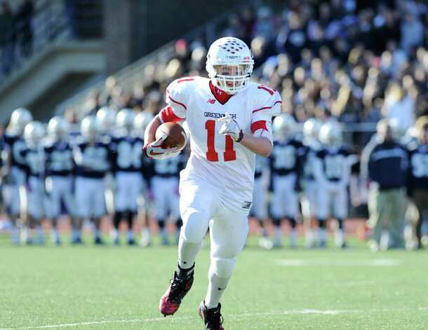 Running back Alex McMurray # 11 of GHS during the FCIAC Football Championship game in which Staples High School defeated Greenwich High School 31-27 at Staples, Westport, Thursday afternoon, Nov. 24, 2011. Photo: Bob Luckey / Greenwich Time
