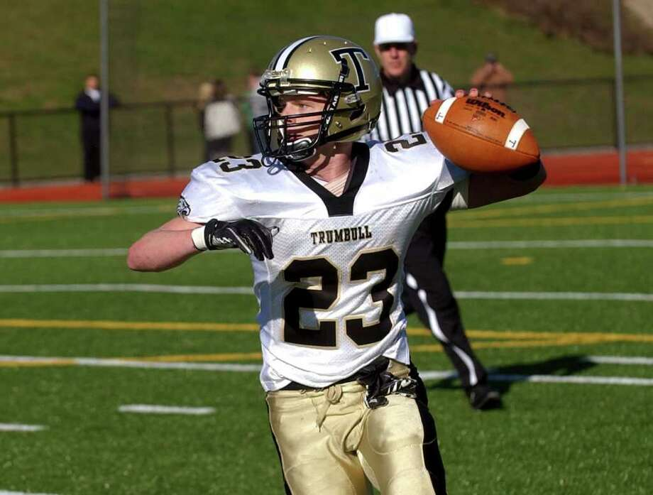 Highlights from Thanksgiving Day boys football action between St. Joseph and Trumbull in Trumbull, Conn. on Thursday November 24, 2011. Trumbull's Michael Uus. Photo: Christian Abraham / Connecticut Post