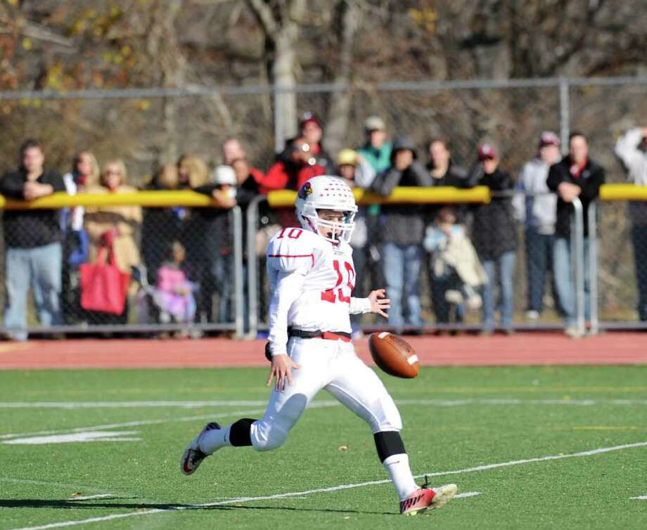 GHS kicker Jesse Adelberg # 10 in action during the FCIAC Football Championship game in which Staples High School defeated Greenwich High School 31-27 at Staples, Westport, Thursday afternoon, Nov. 24, 2011. Photo: Bob Luckey / Greenwich Time