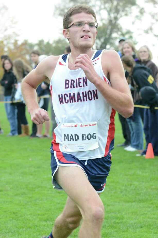 Brien McMahon High School's Chris Madaffari comes in fifth overall, and first for McMahon, in the FCIAC cross country championships at Waveny Park in New Canaan, CT on Monday October 24, 2011. Photo: Shelley Cryan / Shelley Cryan freelance; Stamford Advocate freelance