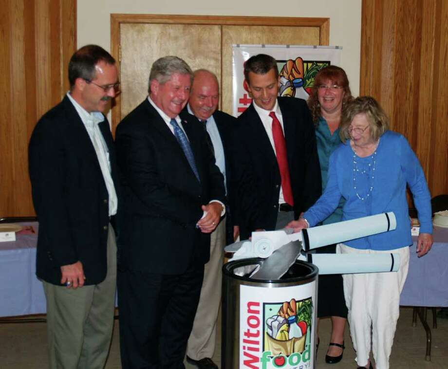 Shown at an event for the Wilton Food Pantry are, from left, Assemblyman Tony Jordan, state Sen. Roy McDonald, Wilton Town Supervisor Art Johnson, food pantry President Jared Dinsmore, Vice President Deb Zellan and Doris Wilder. (Photo provided by Dennis Towers/Wilton Food Pantry)