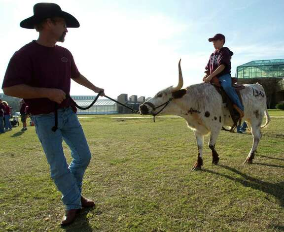 Ronald Libhart, of Wortham, Texas, leads a longhorn ridden by Roy Owens, 11, of Mexia, Texas, before an NCAA college football game between Texas and Texas A&M at Kyle Field Thursday, Nov. 24, 2011, in College Station. Photo: Brett Coomer, Houston Chronicle / © 2011 Houston Chronicle