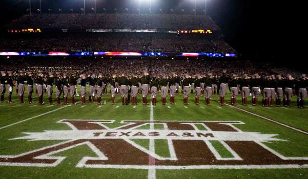 The Texas A&M Corps of Cadets line up on the field before an NCAA college football game between Texas A&M and Texas at Kyle Field Thursday, Nov. 24, 2011, in College Station. Photo: Brett Coomer, Houston Chronicle / © 2011 Houston Chronicle