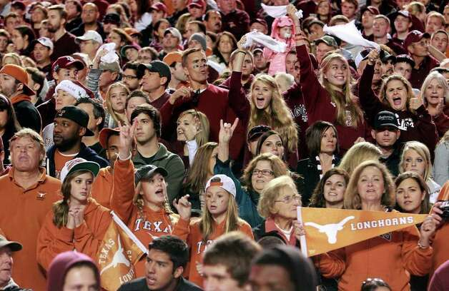 SPORTS   Aggies and Longhorns cheer together as Texas A&M hosts UT at Kyle Field in College Station on November 24, 2011.  Tom Reel/Staff Photo: TOM REEL, SAN ANTONIO EXPRESS-NEWS / © 2011 San Antonio Express-News