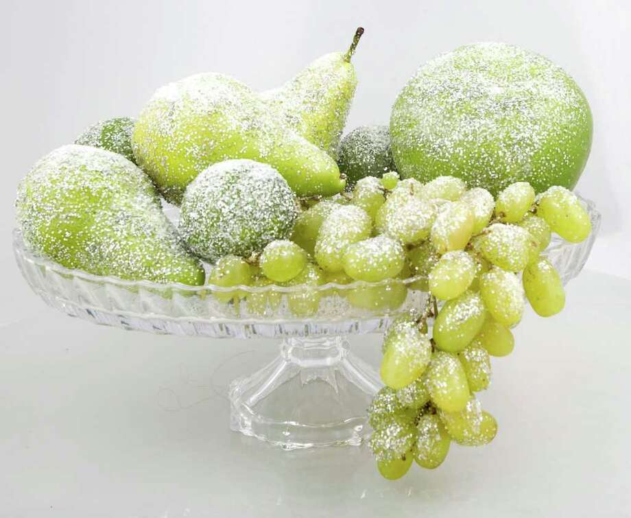 Arrangement of frosted limes, grapes and pears Tuesday, Nov. 15, 2011, in Houston. ( Johnny Hanson / Houston Chronicle ) Photo: Johnny Hanson, Staff / © 2011 Houston Chronicle