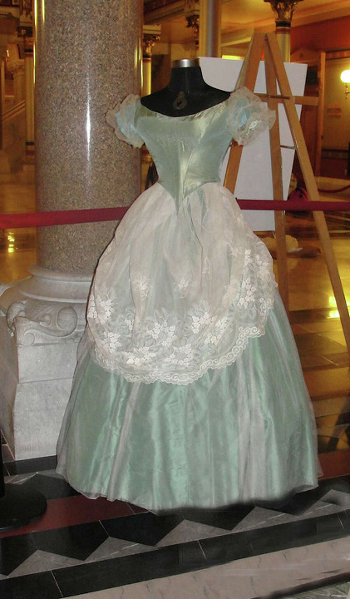 Some of the dresses from UConnís Historical Costume and Textile Collection that will be displayed in the Capitolís Hall of Flags into the new year.