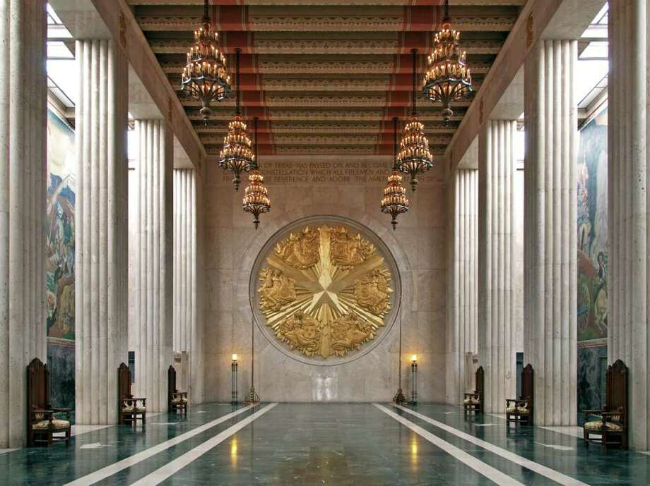 PHOTO BY JIM PARSONS RICH IN HISTORY: The high ceiling and soaring columns of the Hall of State in Dallas' Fair Park drew comparisons to Westminster Abbey on opening day in 1936.