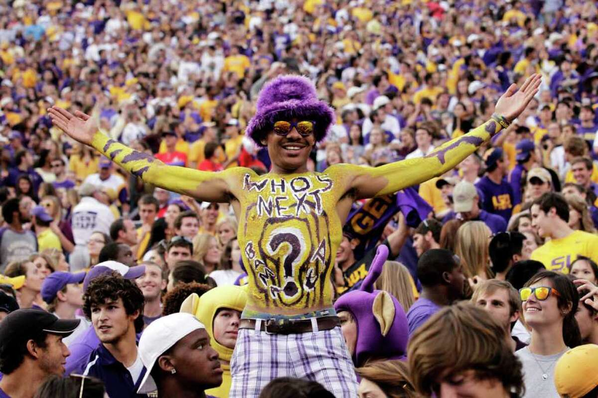 No. 8: LSU Team:Tigers Colors:Royal purple and old gold Source:USA Today