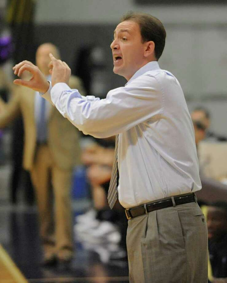 UAlbany coach Will Brown yells from the sideline during a basketball game against Navy at SEFCU Arena in Albany, N.Y. Friday, Nov. 25, 2011. (Lori Van Buren / Times Union) Photo: Lori Van Buren