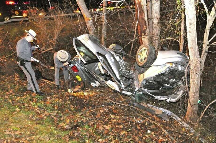 State Police investigate a crash in Greenport. (State Police photo)